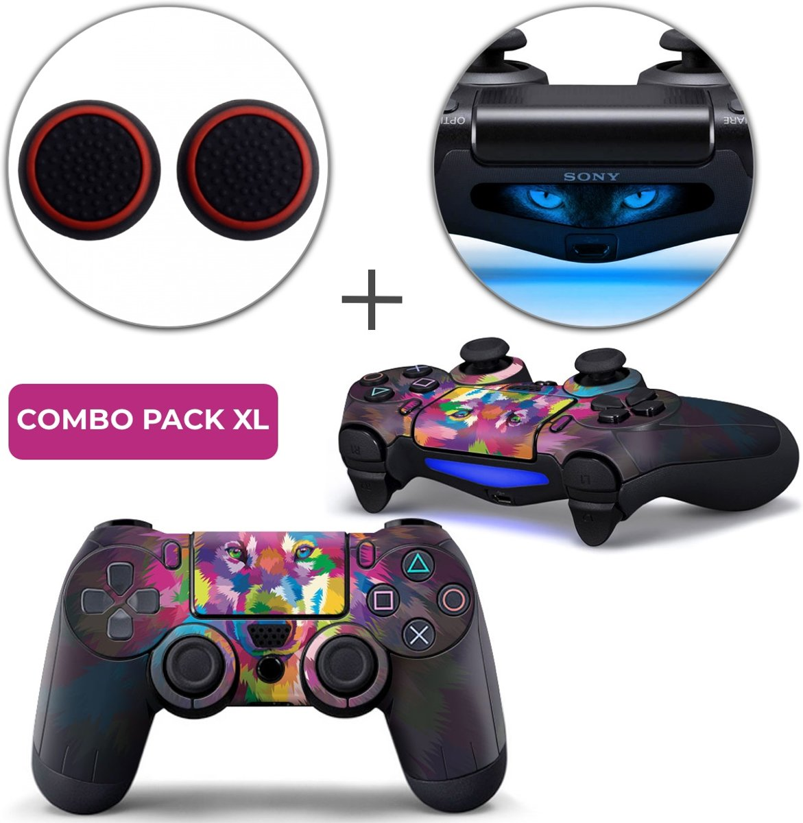 Color Wolf Combo Pack XL - PS4 Controller Skins PlayStation Stickers + Thumb Grips + Lightbar Skin Sticker