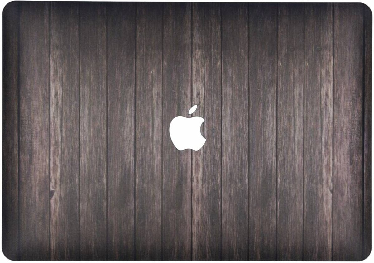 Design Hardshell Cover hoesje voor MacBook Air 13.3 inch (2018) - Hout Donkerbruin