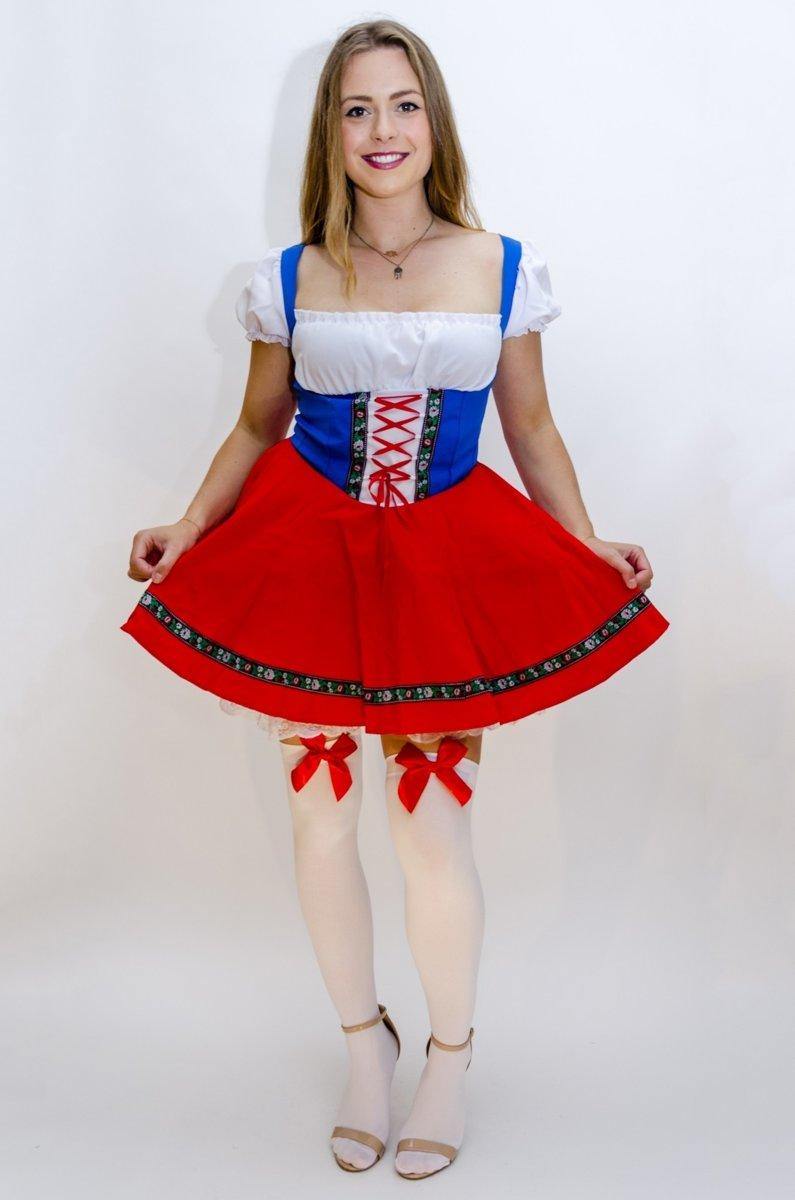 3e90d2097778cd Dirndl jurk rood wit blauw