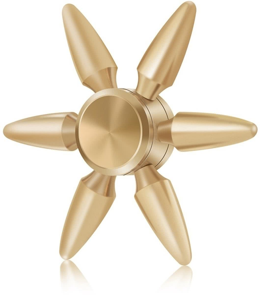 Spinner Toy Stress rooducer Anti-Anxiety Toy voor Children en Adults,  3 Minutes Rotation Time, Steel R188 Beads Bearing + Copper materiaal, Six Bullet Leaves