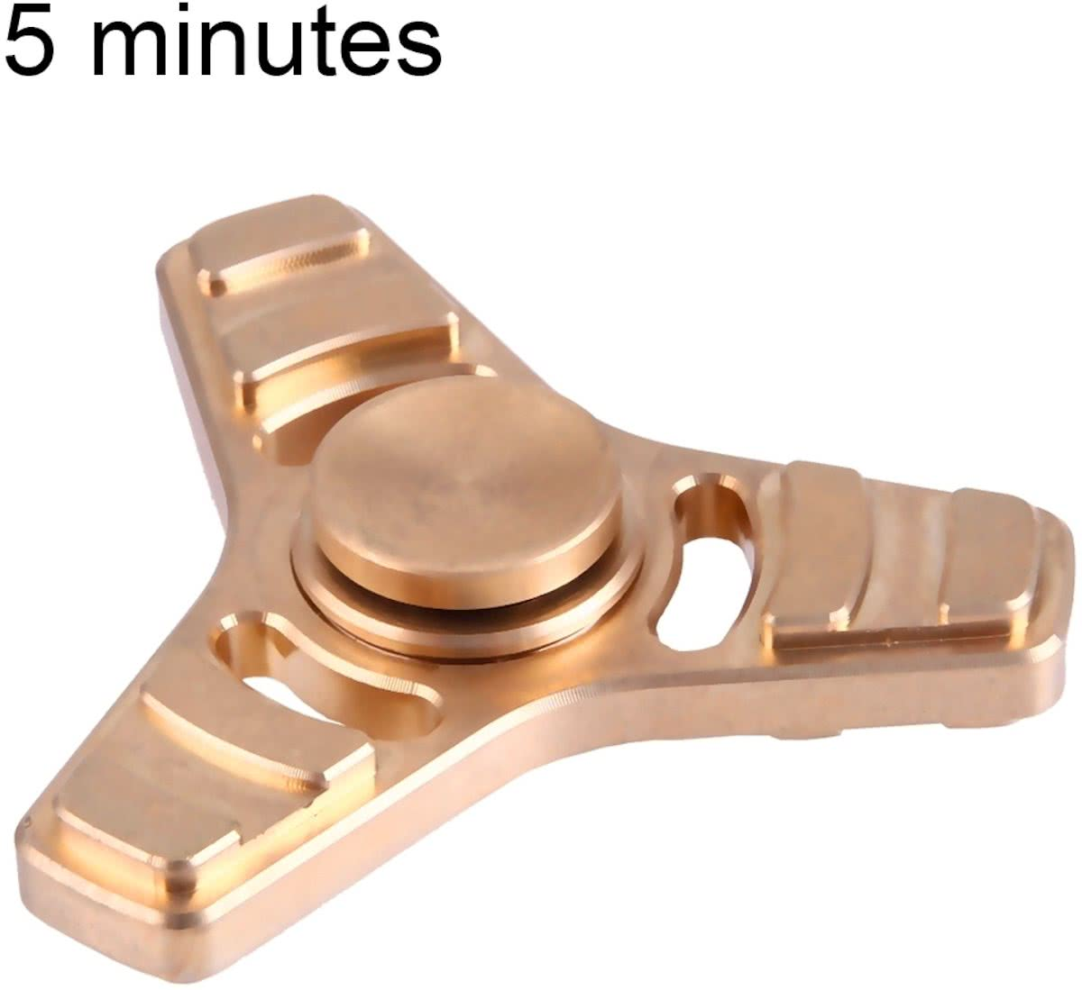 Spinner Toy Stress rooducer Anti-Anxiety Toy voor Children en Adults, 5 Minutes Rotation Time, Copper materiaal, Three Leaves