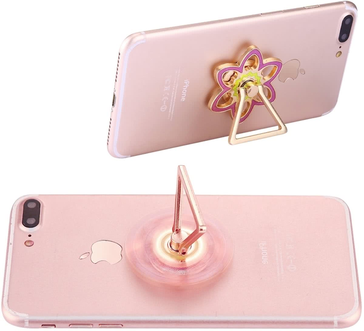 Flower Shape Phone Triangle houder   Spinner Toy Stress rooducer Anti-Anxiety Toy, About 0.2 Minutes Rotation Time(roze)
