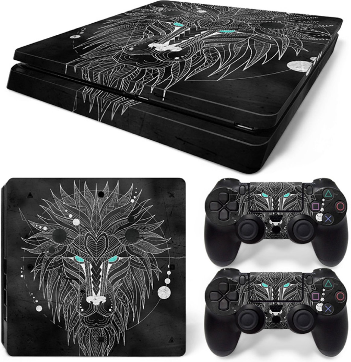 Geometric Lion - PS4 Slim Console Skins PlayStation Stickers