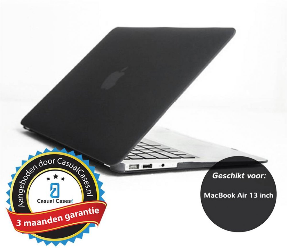 Glanzende hardcase hoes MacBook Air 13 inch zwart