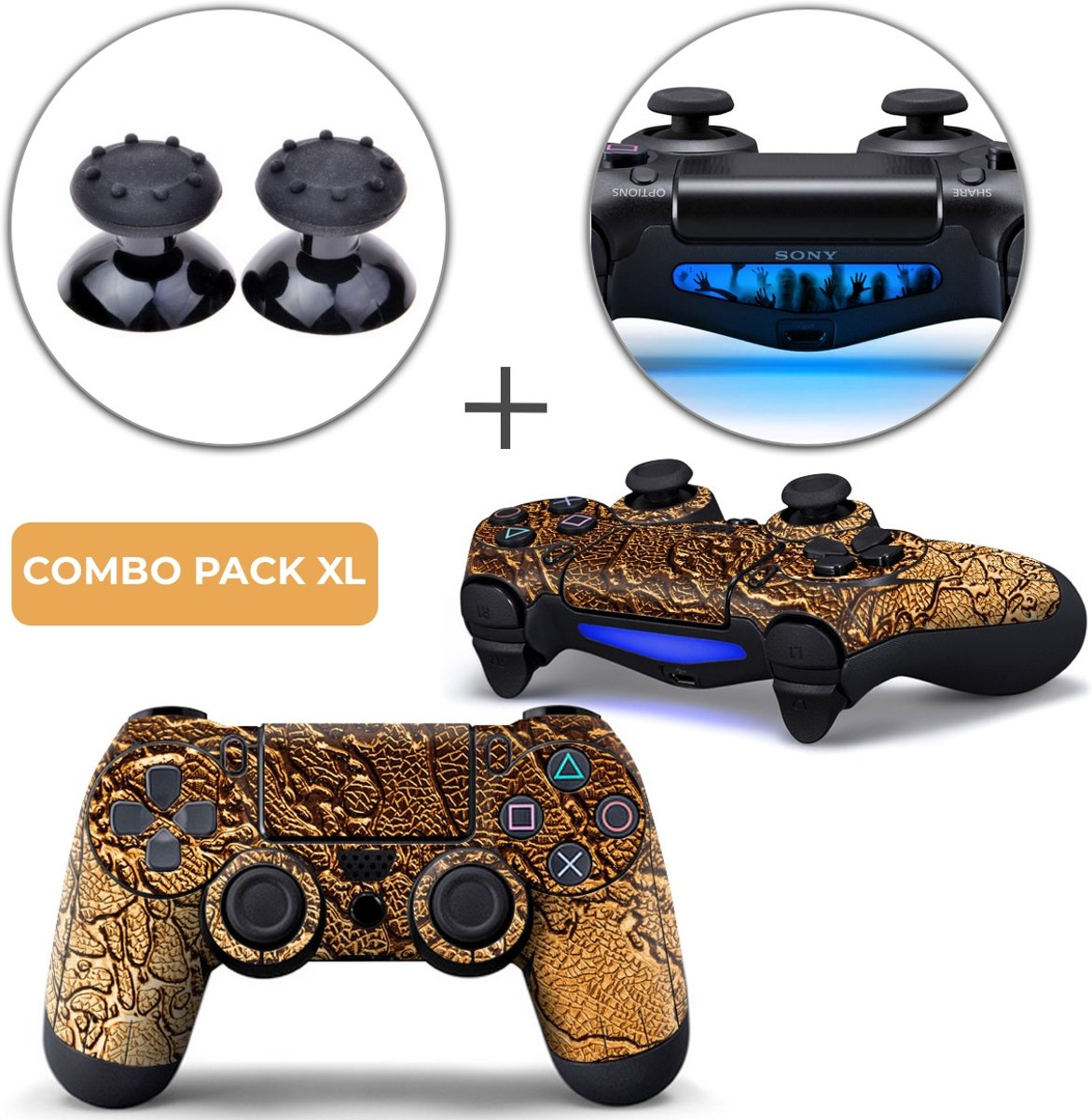 Golden Waves Combo Pack XL - PS4 Controller Skins PlayStation Stickers + Thumb Grips + Lightbar Skin Sticker