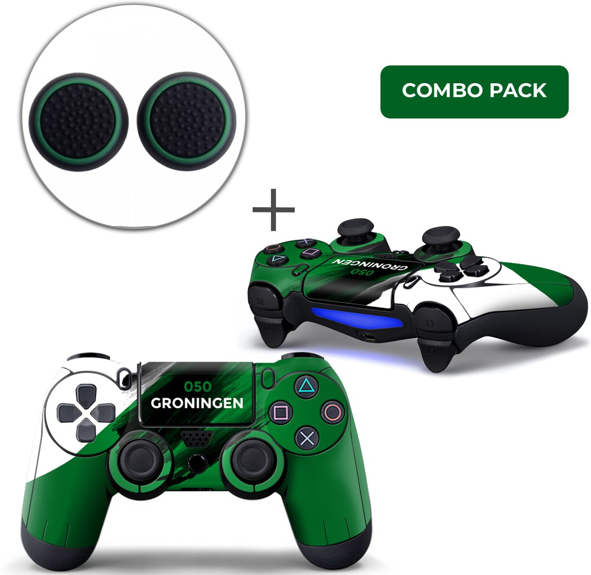 Groningen Combo Pack - PS4 Controller Skins PlayStation Stickers + Thumb Grips