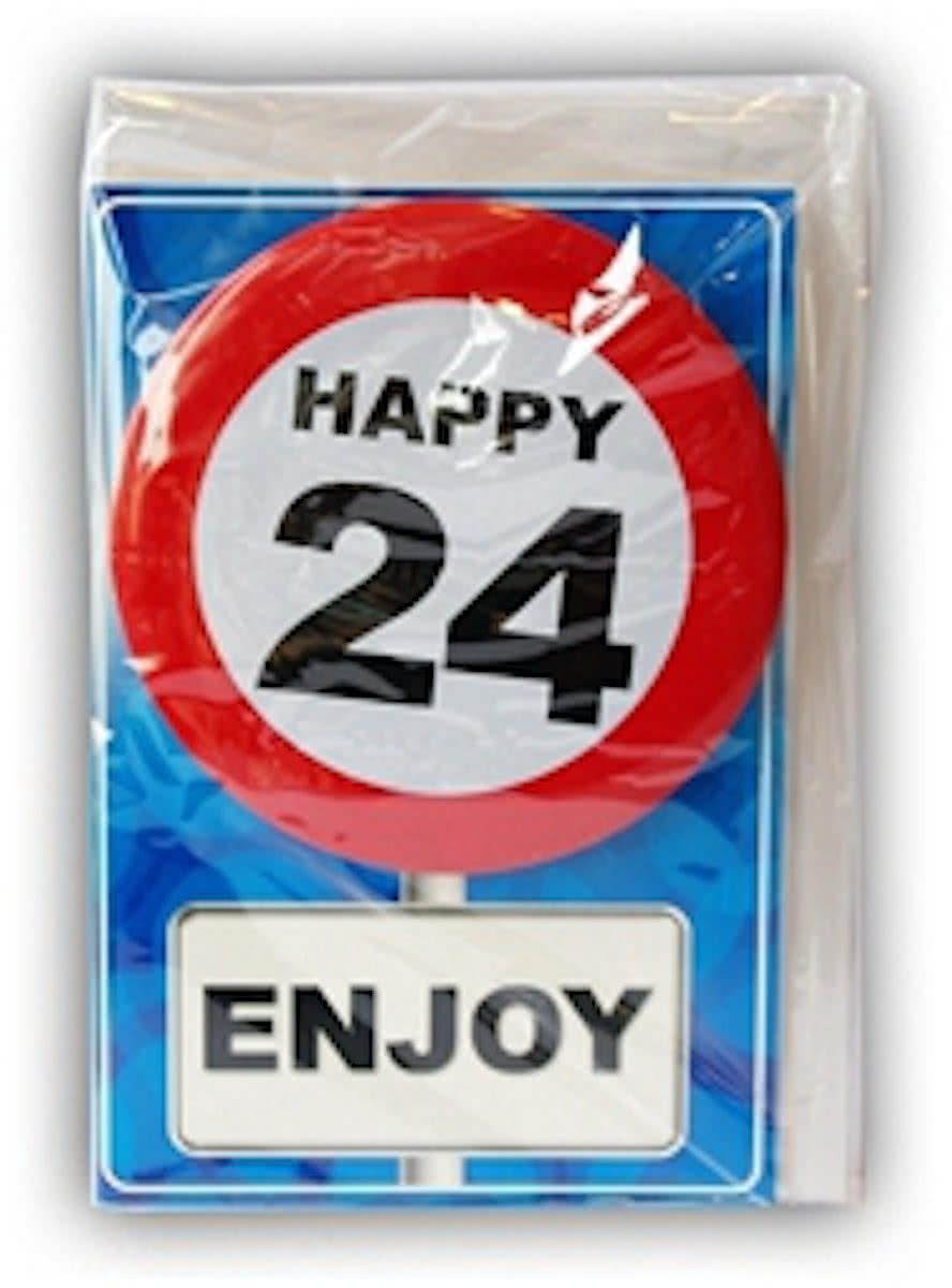 Happy Birthday kaart met button 24 jaar
