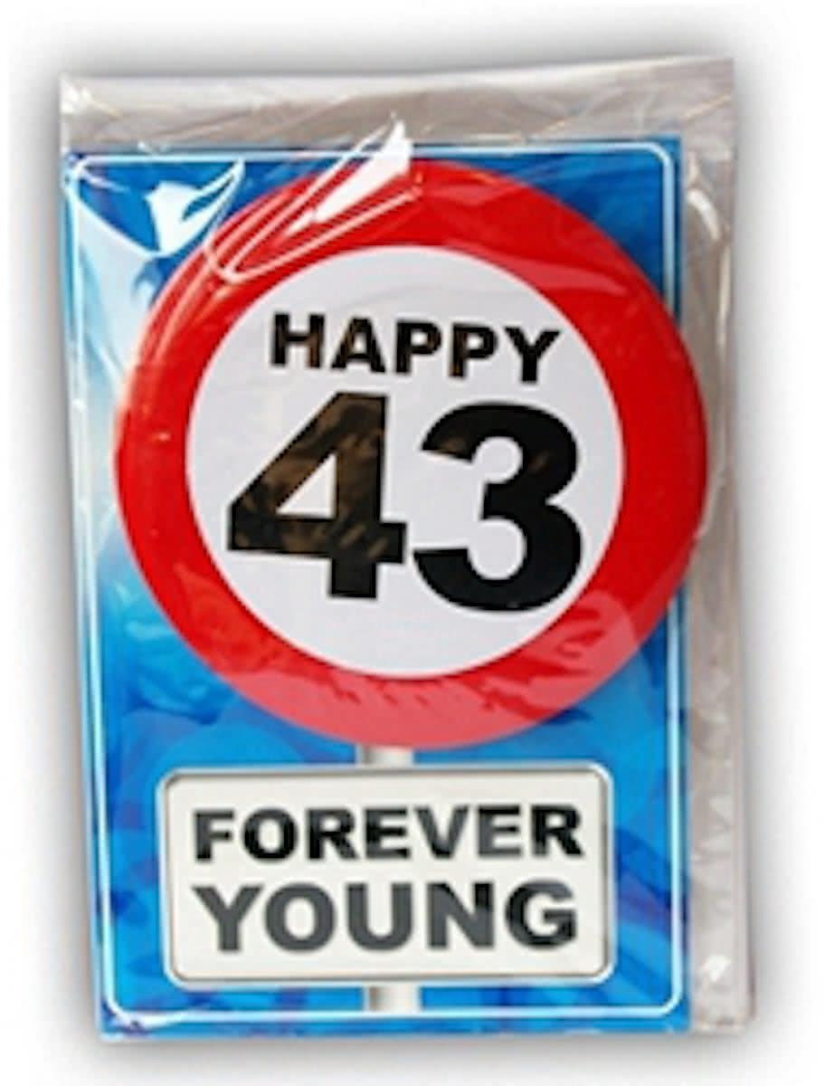 Happy Birthday kaart met button 43 jaar
