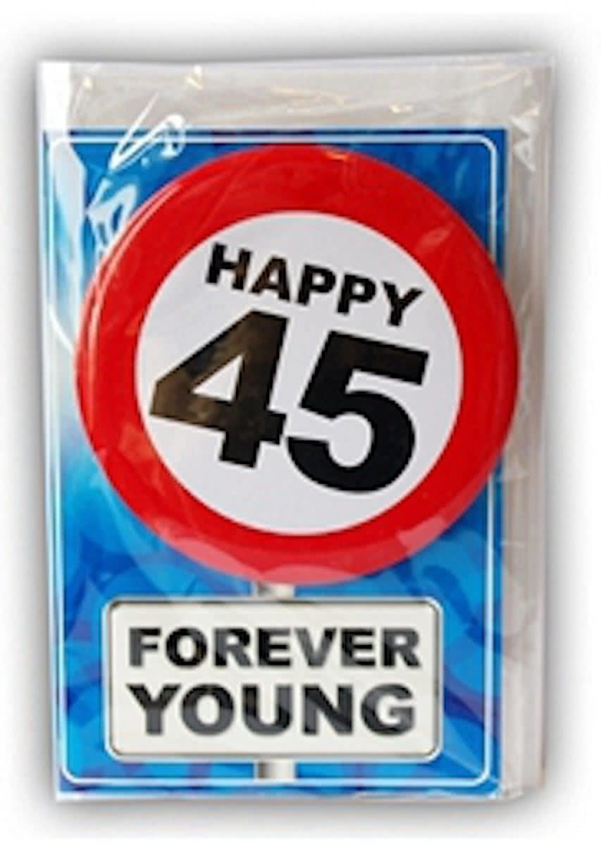 Happy Birthday kaart met button 45 jaar