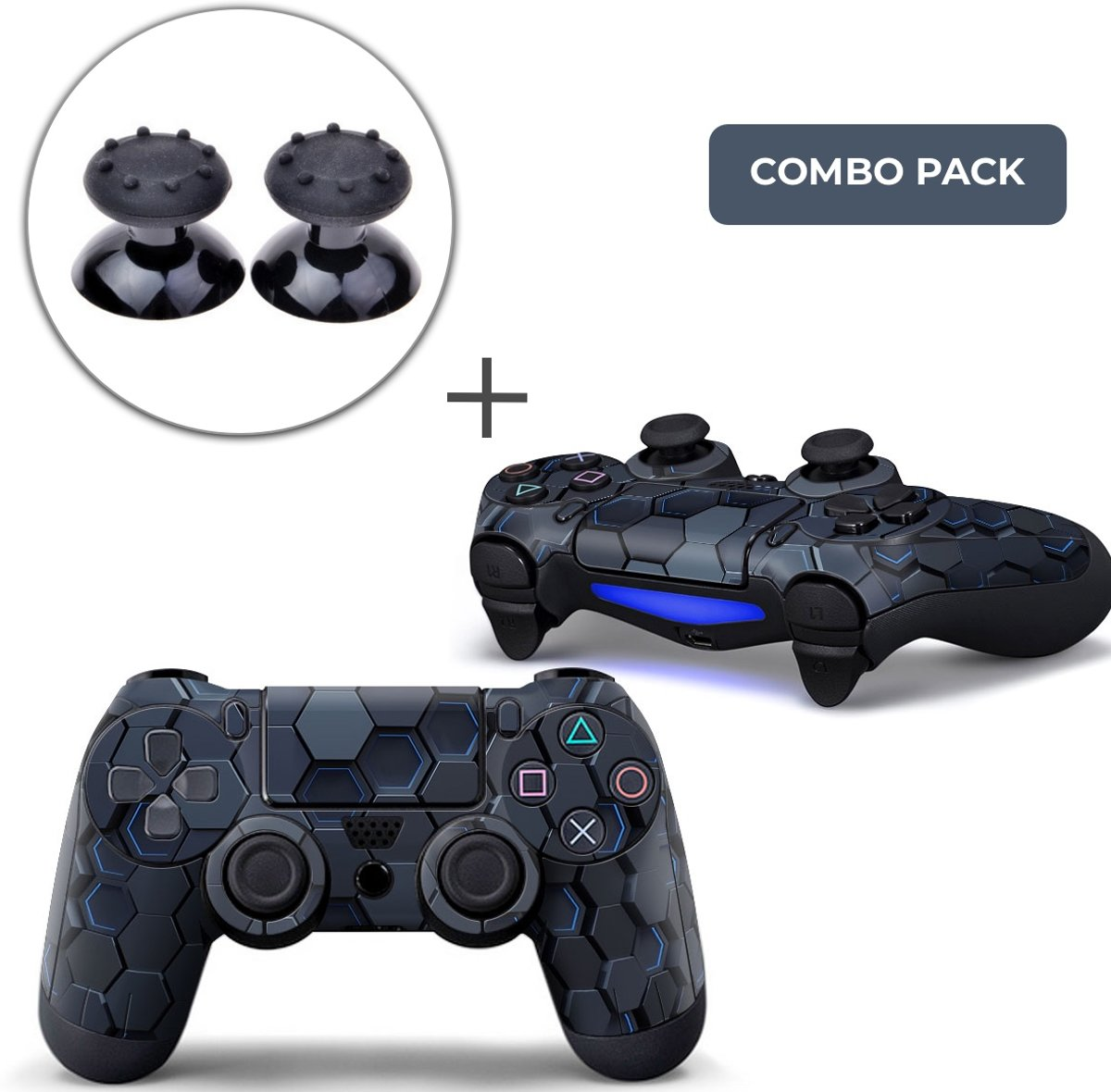 Hex 3D Combo Pack - PS4 Controller Skins PlayStation Stickers + Thumb Grips