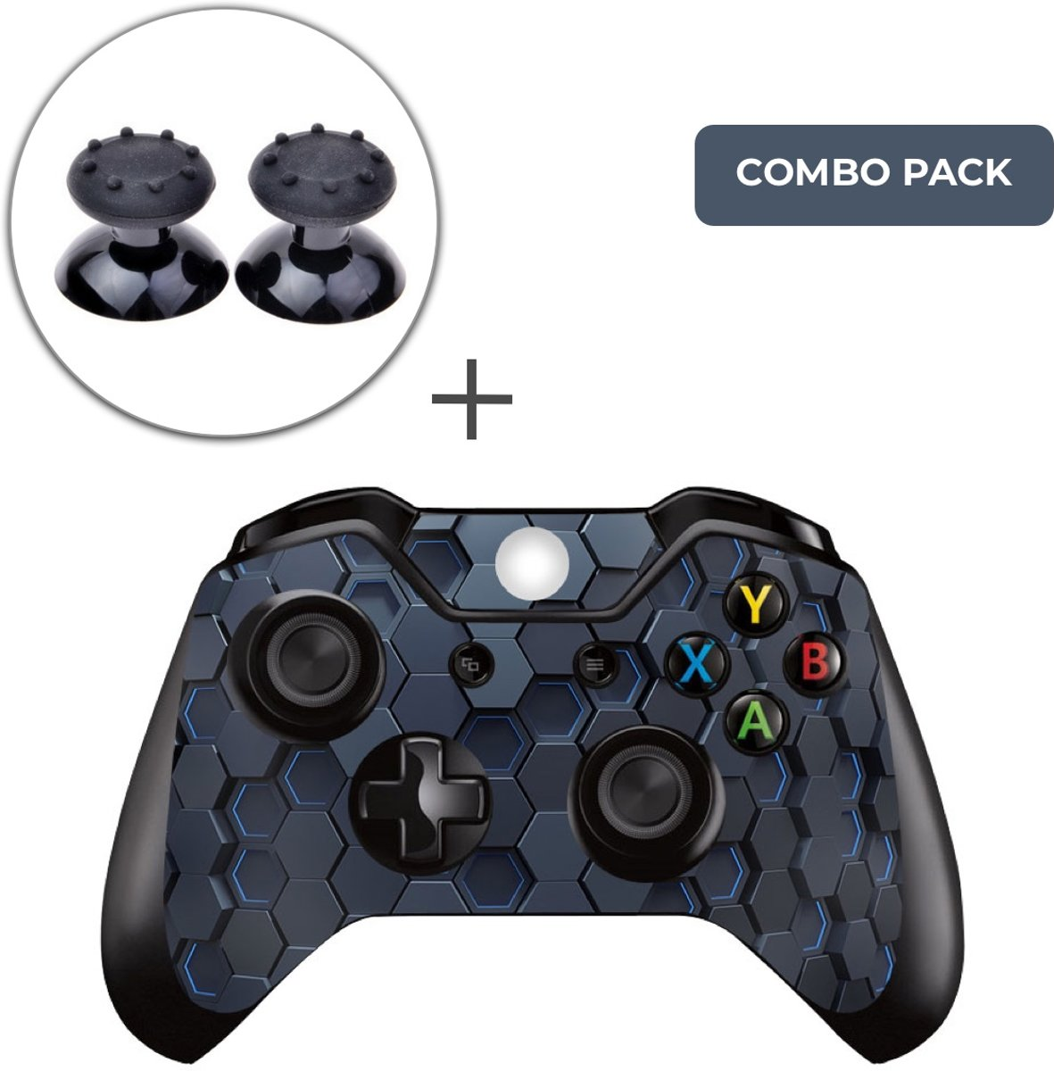 Hex 3D Combo Pack - Xbox One Controller Skins Stickers + Thumb Grips