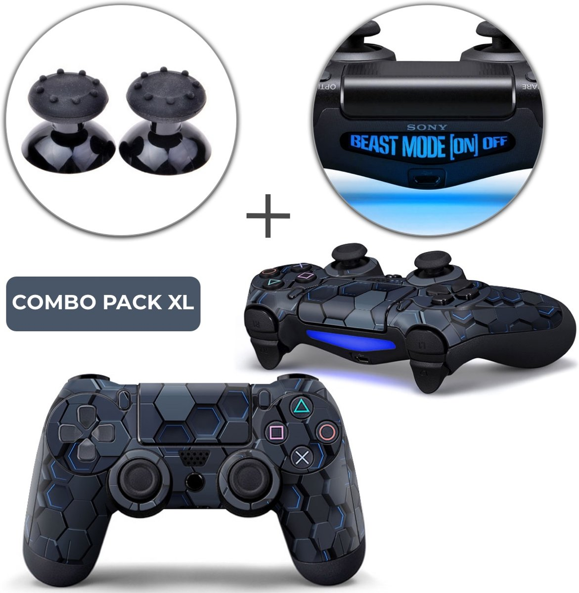 Hex 3D Combo Pack XL - PS4 Controller Skins PlayStation Stickers + Thumb Grips + Lightbar Skin Sticker