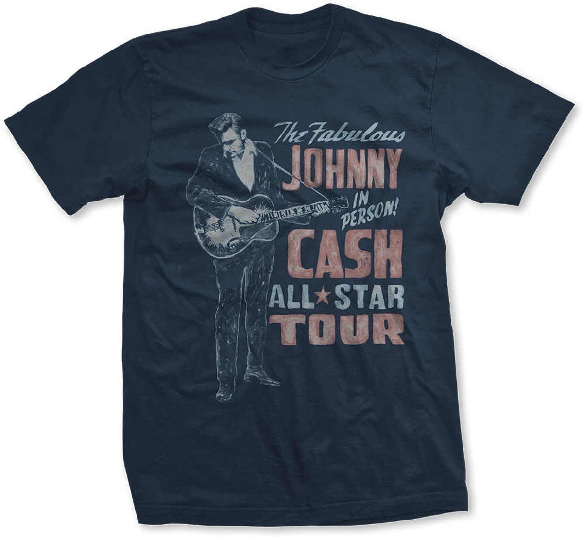 Johnny Cash Heren Tshirt -S- All Star Tour Blauw
