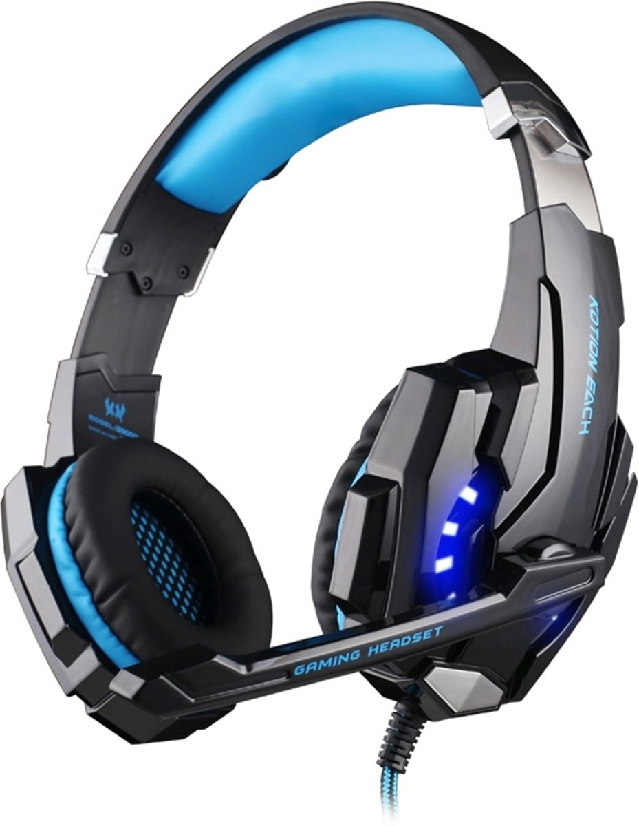 KOTION EACH G9000 3.5mm Game Gaming hoofdtelefoon Headset Koptelefoon Headband met microfoon LED licht voor Laptop / Tablet / mobiele telefoons,Kabel Length: About 2.2m(Blue + zwart)