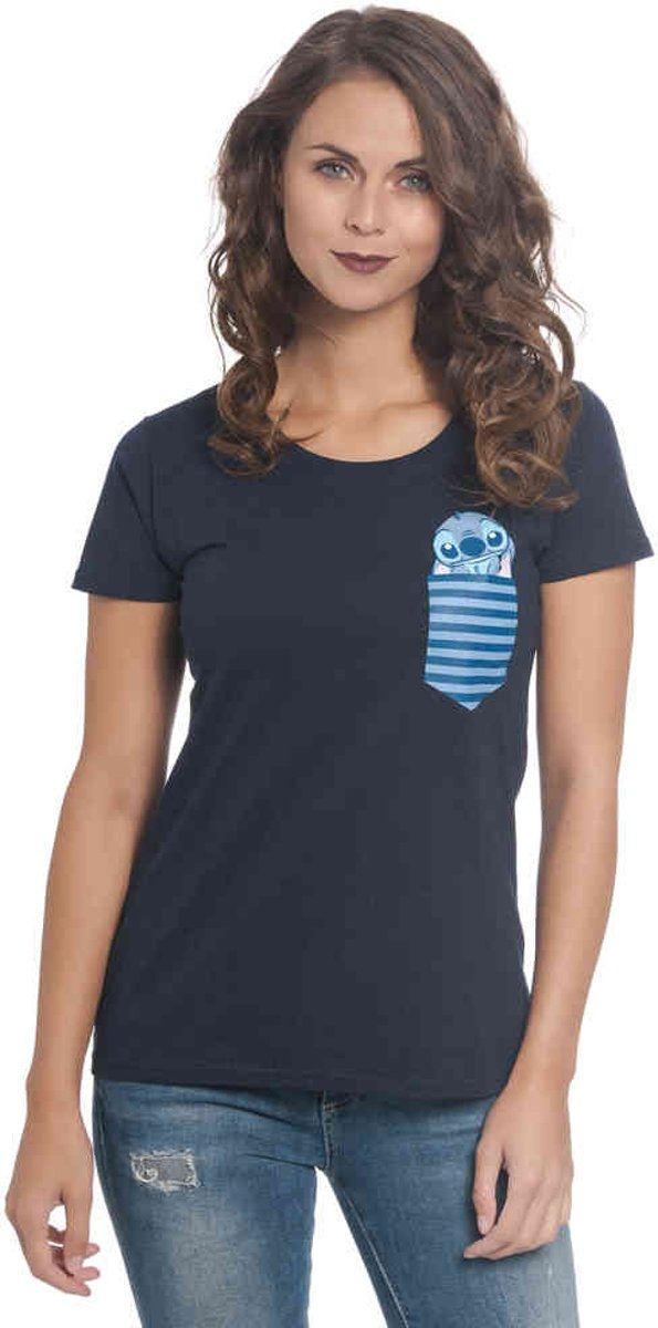 Lilo & Stitch Dames Tshirt -S- New Pocket Blauw