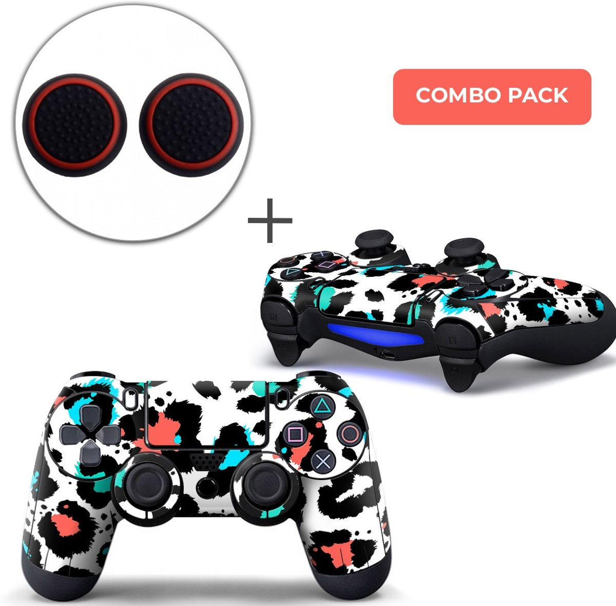 Luipaard Print Multi Combo Pack - PS4 Controller Skins PlayStation Stickers + Thumb Grips
