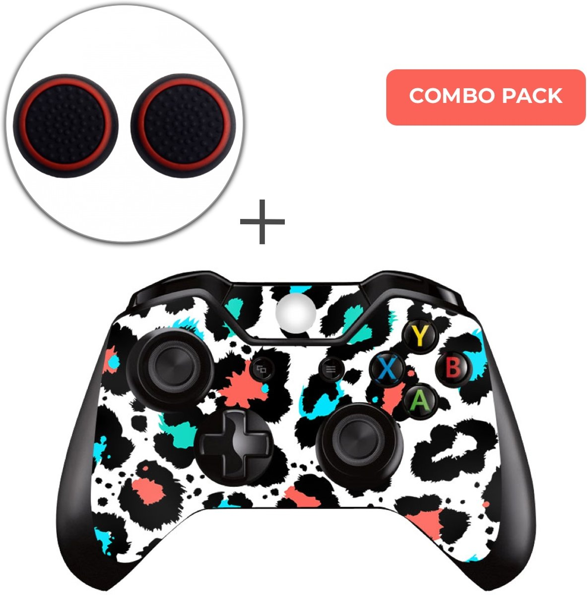 Luipaard Print Multi Combo Pack - Xbox One Controller Skins Stickers + Thumb Grips