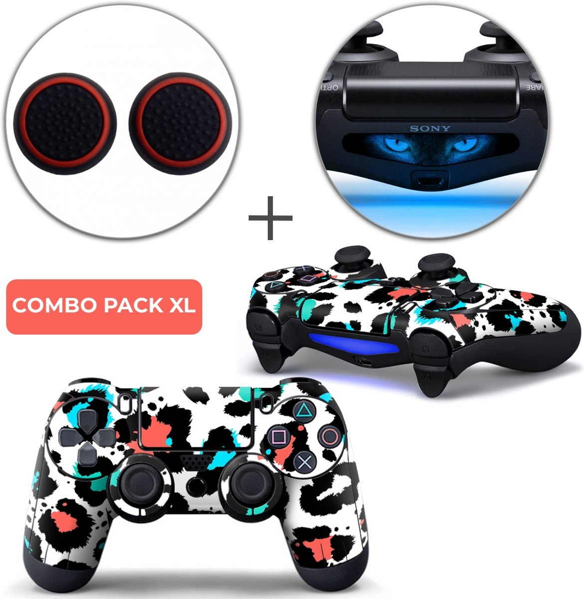 Luipaard Print Multi Combo Pack XL - PS4 Controller Skins PlayStation Stickers + Thumb Grips + Lightbar Skin Sticker