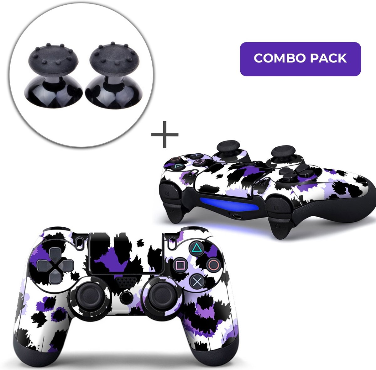 Luipaard Print Paars Combo Pack - PS4 Controller Skins PlayStation Stickers + Thumb Grips