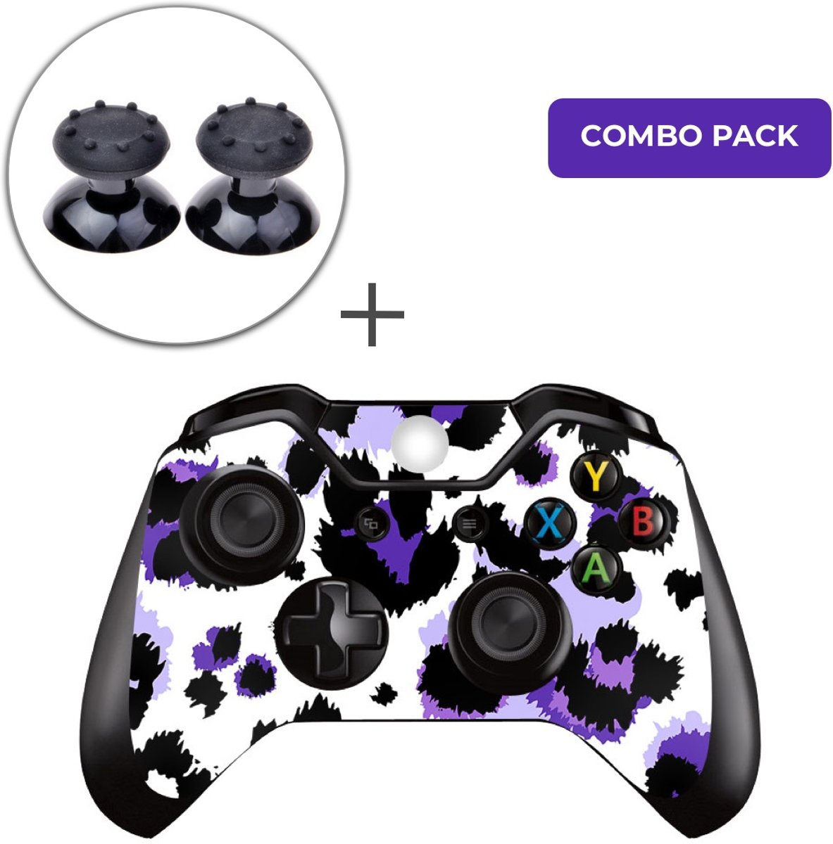 Luipaard Print Paars Combo Pack - Xbox One Controller Skins Stickers + Thumb Grips