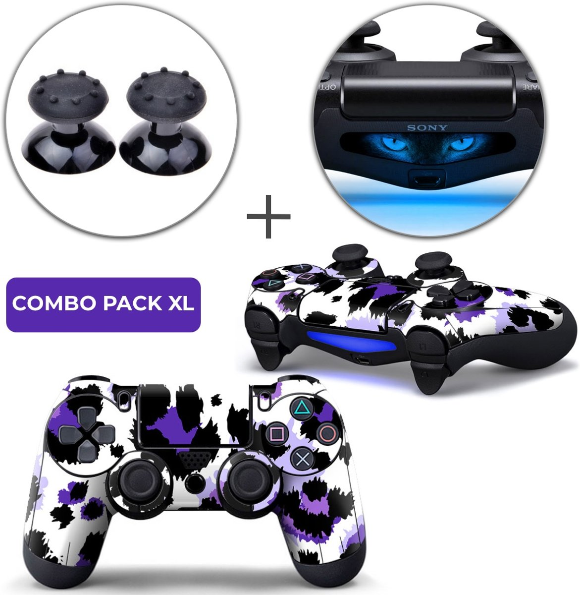 Luipaard Print Paars Combo Pack XL - PS4 Controller Skins PlayStation Stickers + Thumb Grips + Lightbar Skin Sticker