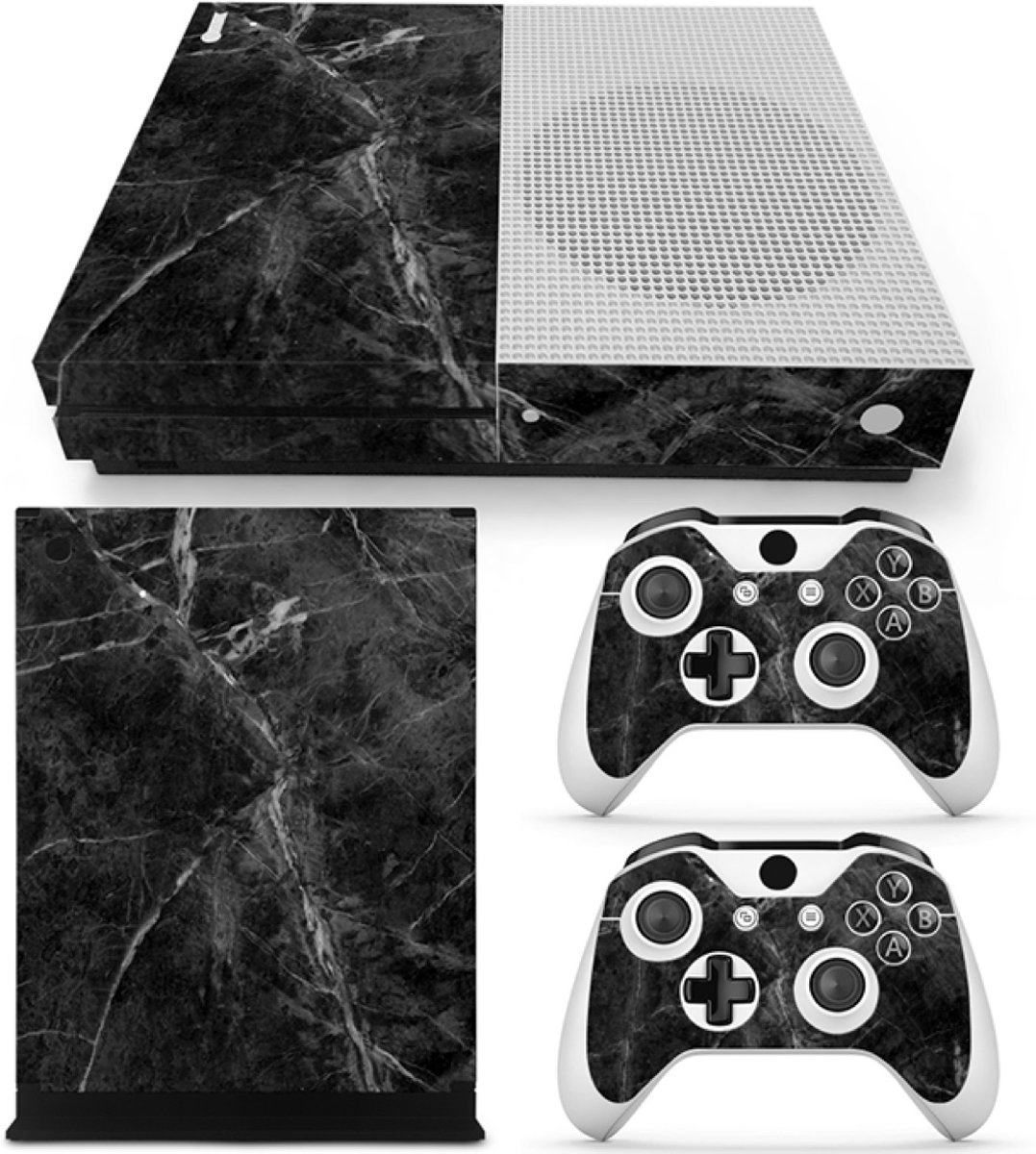 Marmer Zwart - Xbox One S Console Skins Stickers