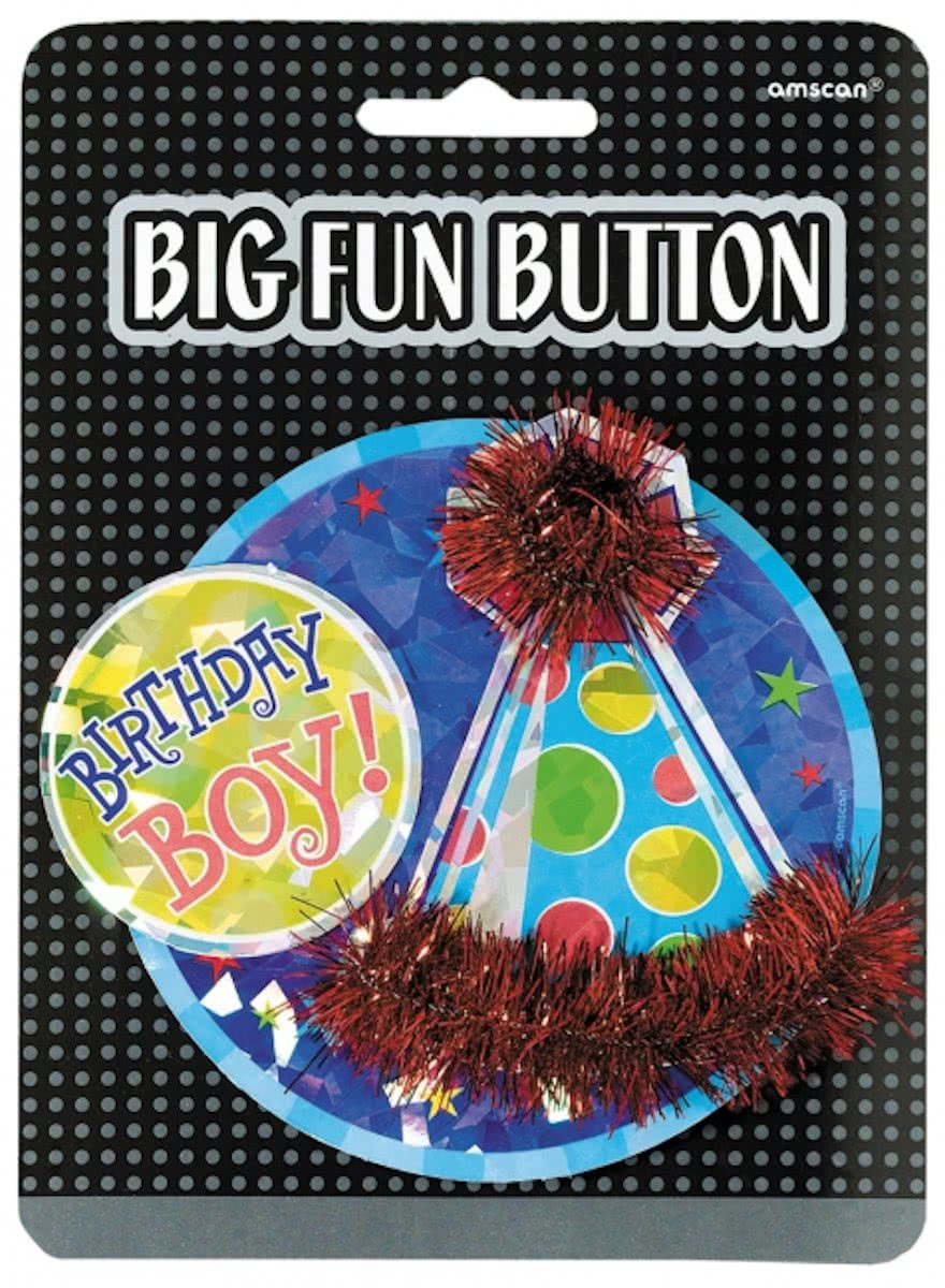 Mega verjaardag button birthday boy