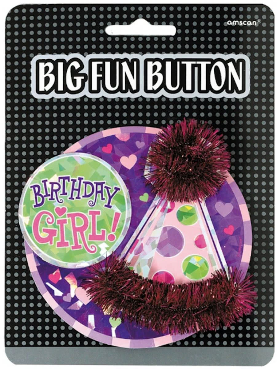 Mega verjaardag button birthday girl