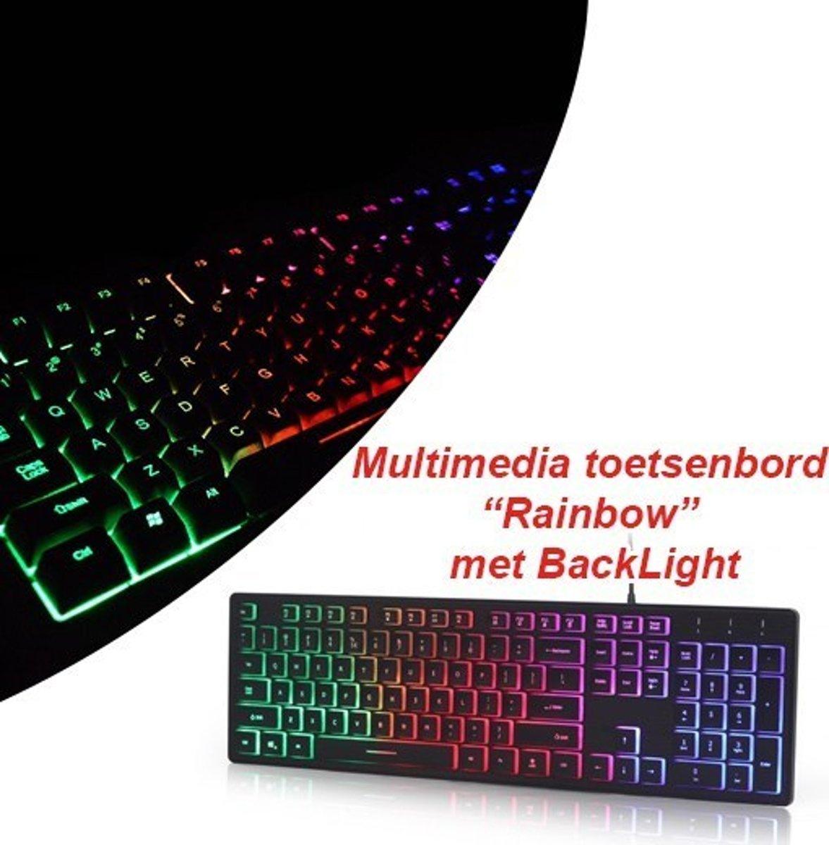 "Multimedia toetsenbord ""Rainbow"" met BackLight"