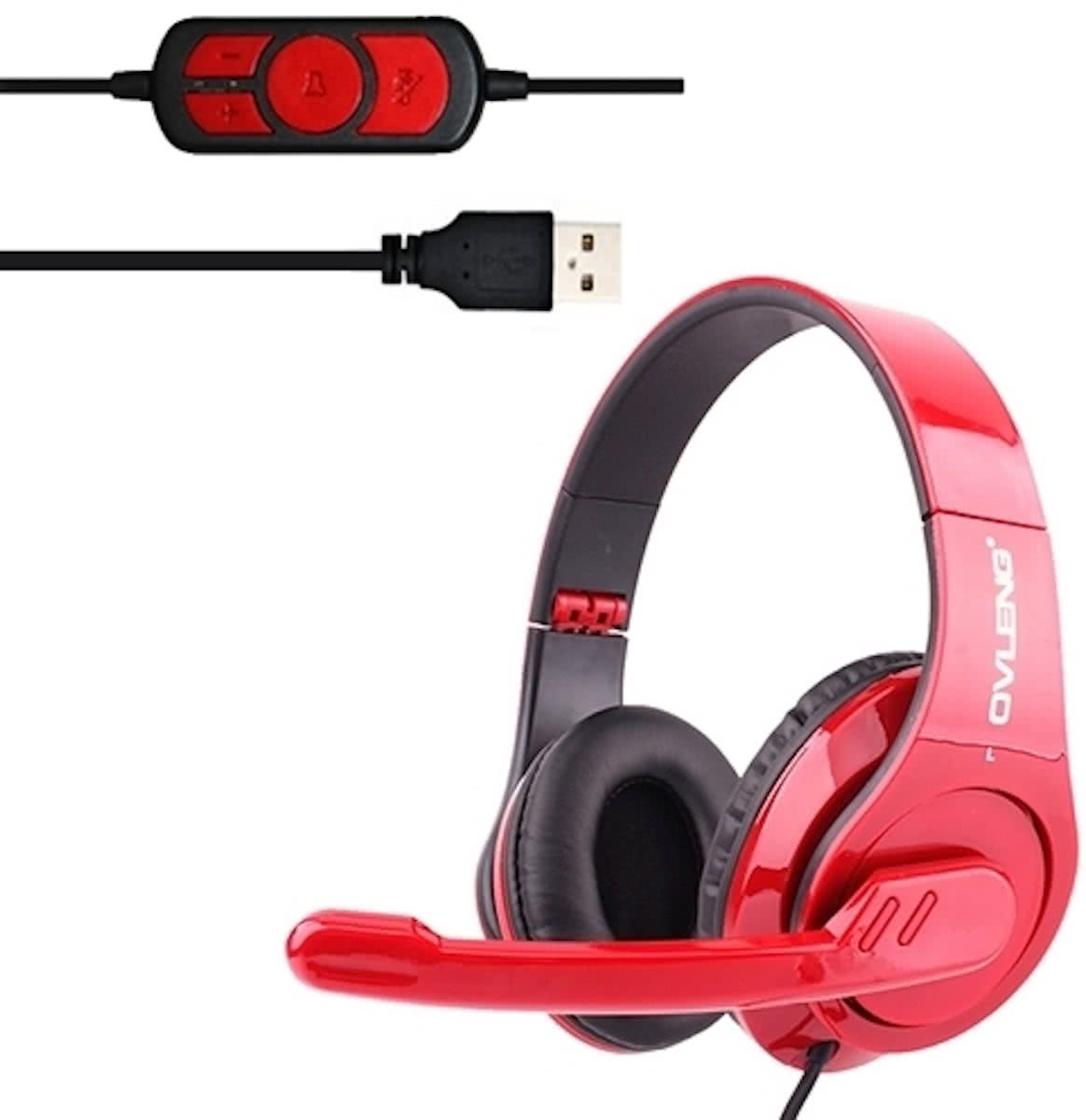 OVLENG Q8 universeel Stereo Headset met Mic & Volume Control Key voor All Audio Devices, Kabel Length: 2m(rood)