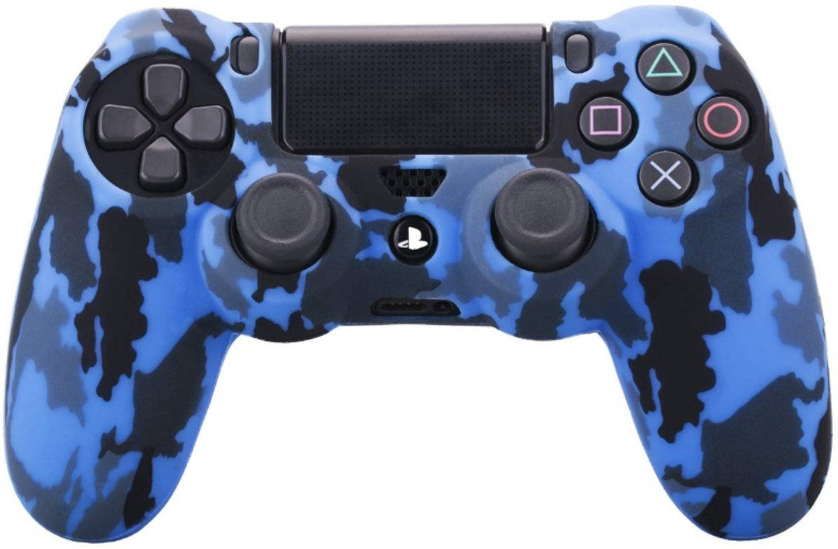 PS4 Controller Hoesje Silicone - Playstation 4 Controller Silicone Skin - Blue Camo