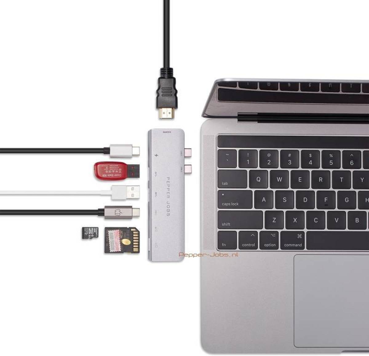 Pepper Jobs TCH-MBP7 Dual USB-C Multipoort hub voor MacBook Pro 13