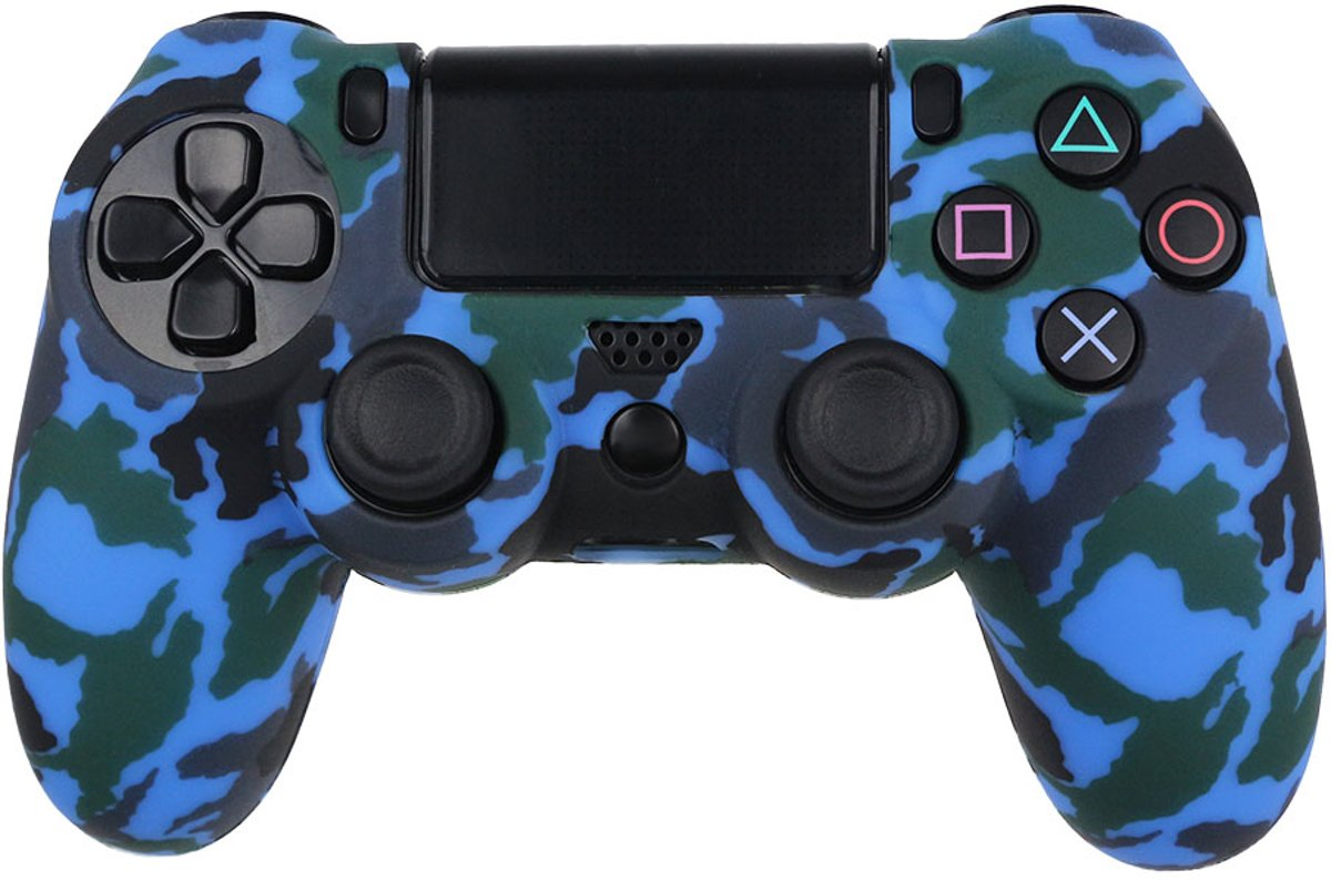 Playstation 4 Controller Silicone Camouflage BeschermHoes Blauw Ps4 controller Protective case Camo Blue 2 stuks