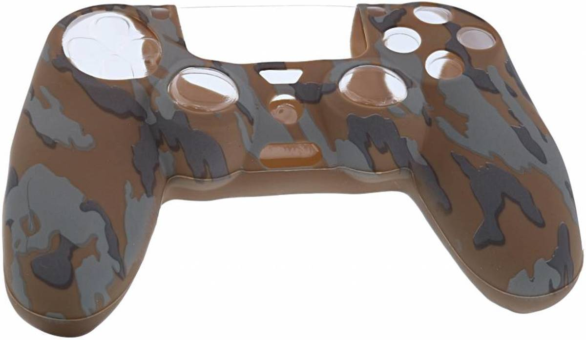 Playstation 4 Controller Silicone hoesje - PS4 controller Soft Cover + Thumb Grips  Camouflage Bruin