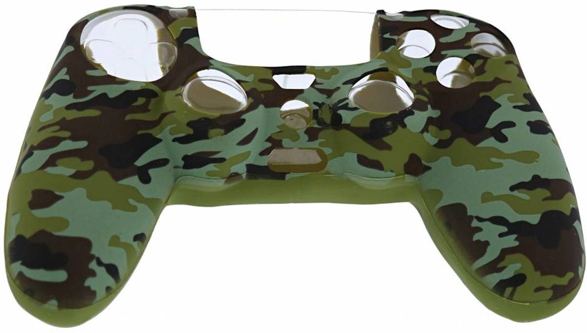 Playstation 4 Controller Silicone hoesje - PS4 controller Soft Cover + Thumb Grips  Camouflage Groen