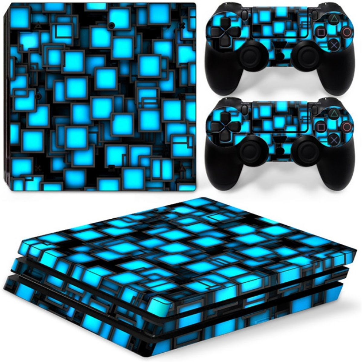 Playstation 4 Pro Sticker | Playstation 4 Pro Console Skin | Blue Boxes | Playstation 4 Pro Blauwe vierkantjes Skin Sticker | Console Skin + 2 Controller Skins