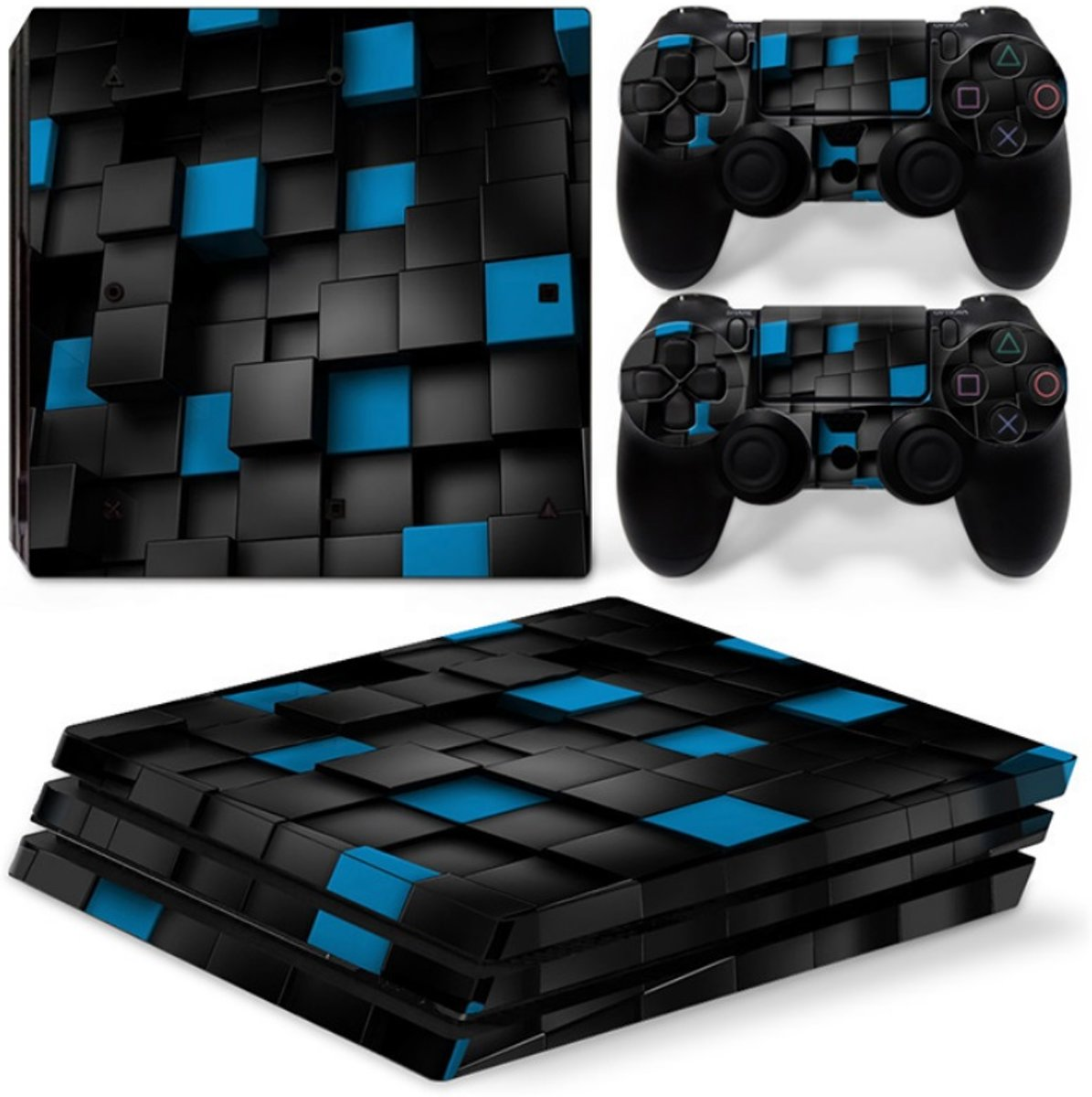 Playstation 4 Pro Sticker | Playstation 4 Pro Console Skin | Blue Cubes | Playstation 4 Pro Blauwe Vierkantjes Skin Sticker | Console Skin + 2 Controller Skins