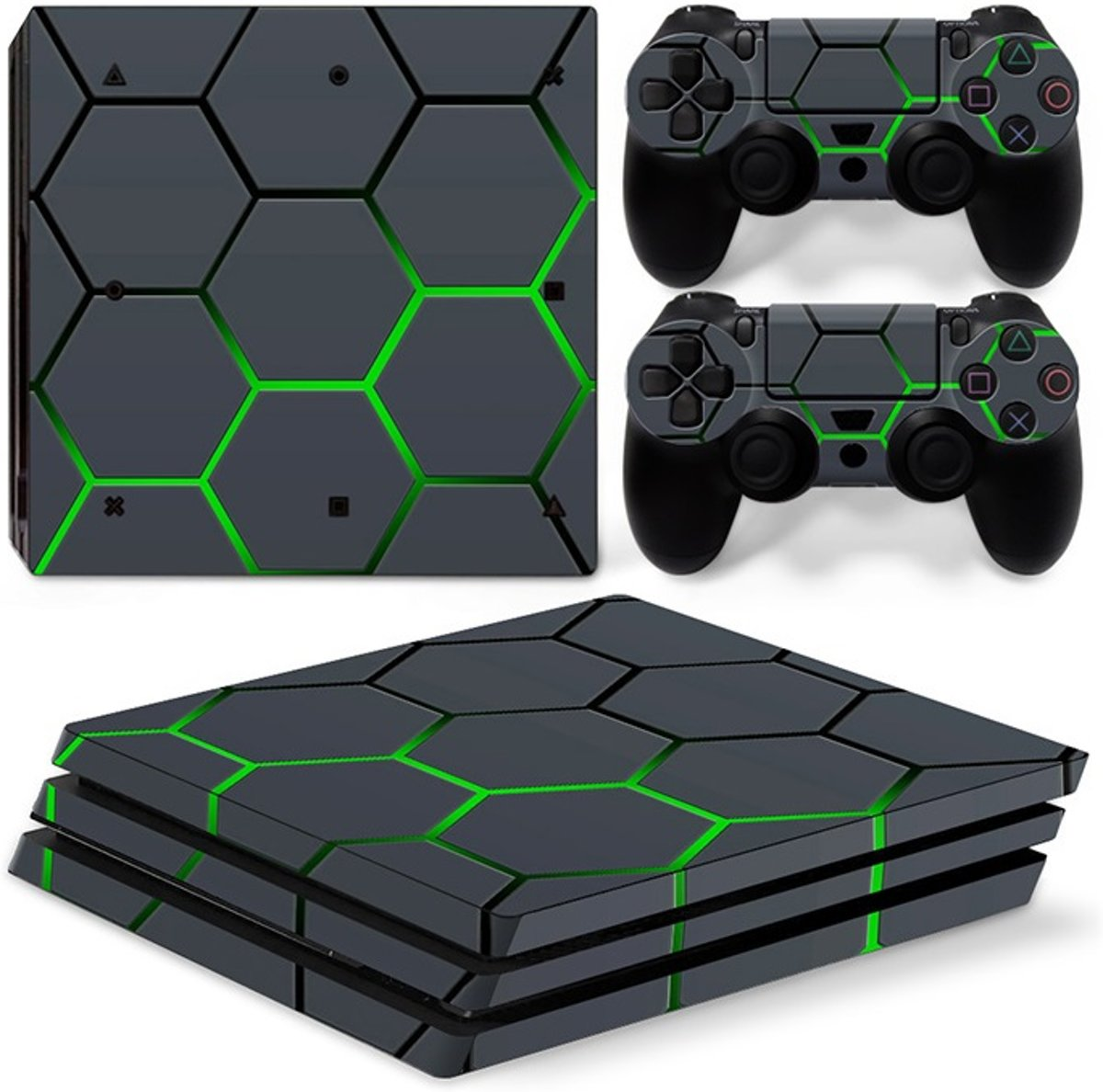 Playstation 4 Pro Sticker | Playstation 4 Pro Console Skin | Green Black Boxes | Playstation 4 Pro Groenblauwe Vierkantjes Skin Sticker | Console Skin + 2 Controller Skins