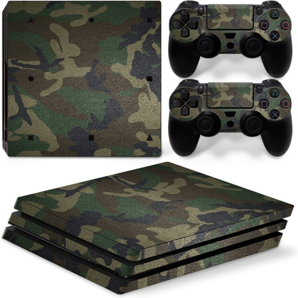 Playstation 4 Pro Sticker | Playstation 4 Pro Console Skin | Green Camo | Playstation 4 Pro Groene Camouflage Skin Sticker | Console Skin + 2 Controller Skins