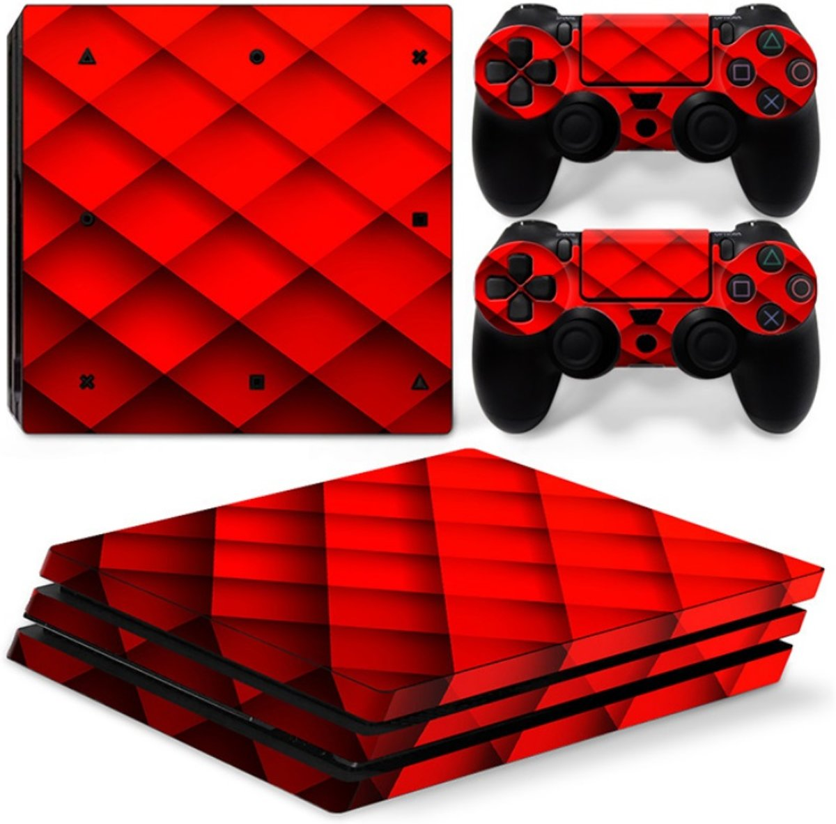 Playstation 4 Pro Sticker | Playstation 4 Pro Console Skin | Red Pattern | Playstation 4 Pro Rood Patroon Skin Sticker | Console Skin + 2 Controller Skins