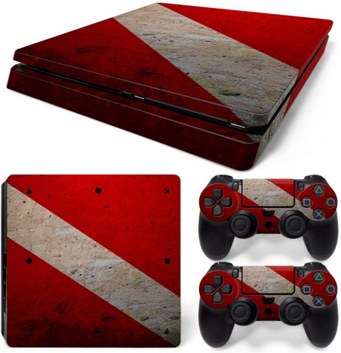 Playstation 4 Slim Sticker | Playstation 4 Slim Console Skin | Red White | Playstation 4 Slim Rood Wit  Skin Sticker | Console Skin + 2 Controller Skins