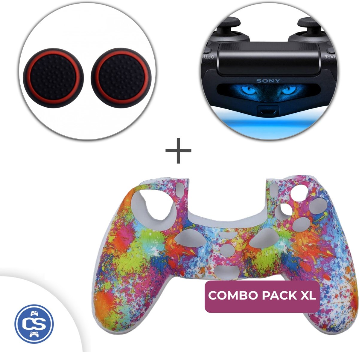 Rainbow Siliconen Beschermhoes + Thumb Grips + Lightbar Skin voor PS4 Dualshock PlayStation 4 Controller - Softcover Hoes / Case