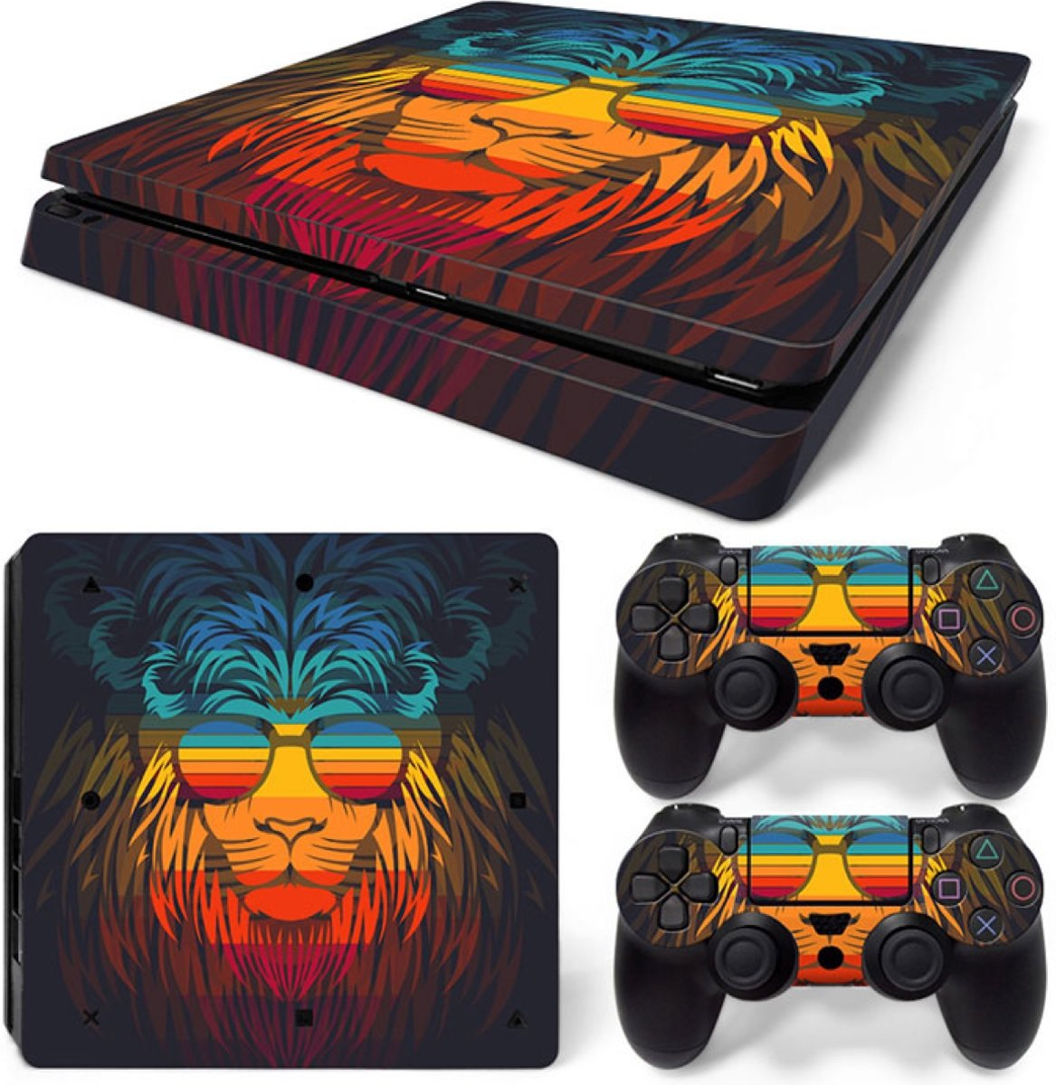 Retro Leeuw - PS4 Slim Console Skins PlayStation Stickers