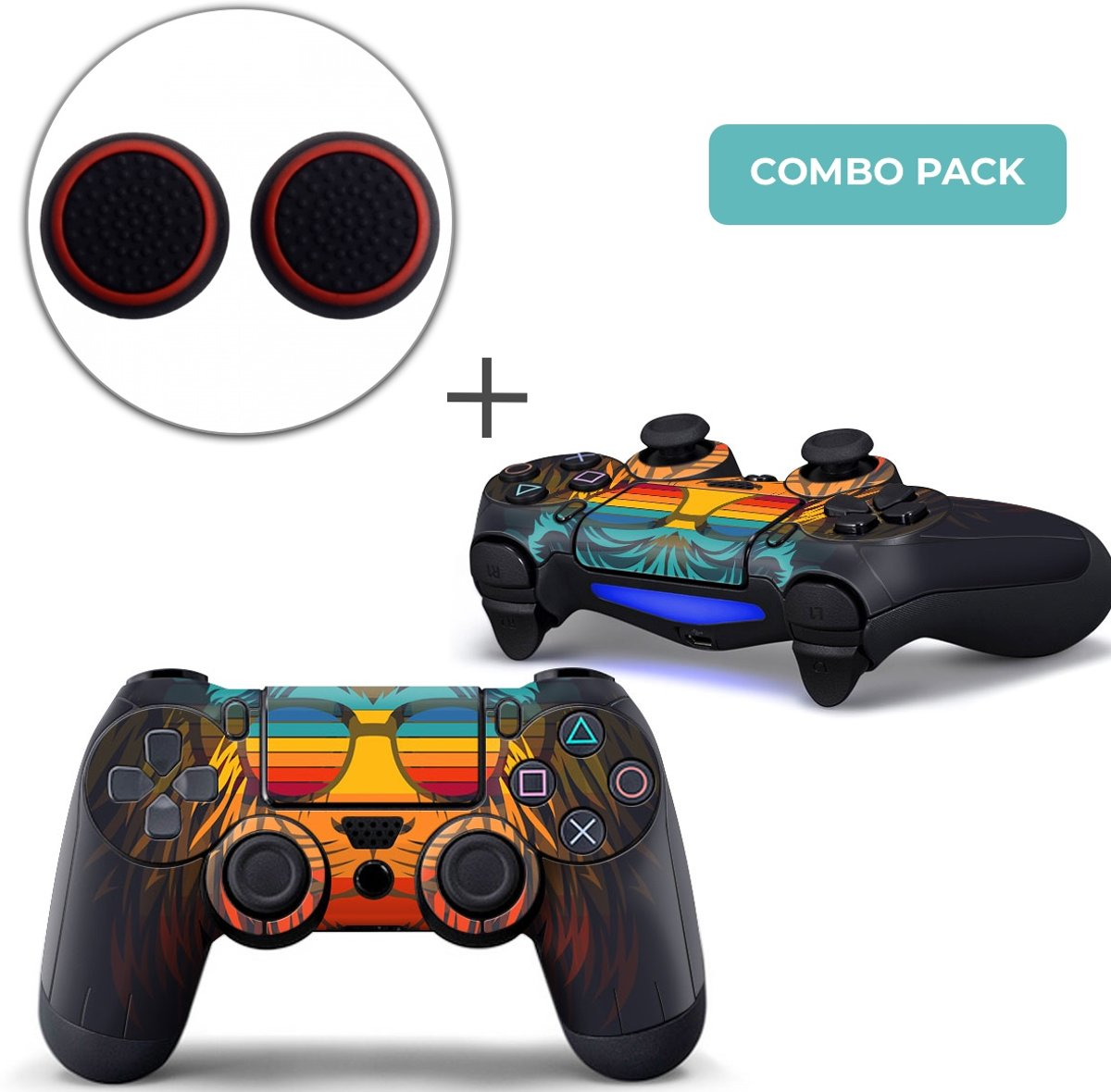 Retro Leeuw Combo Pack - PS4 Controller Skins PlayStation Stickers + Thumb Grips