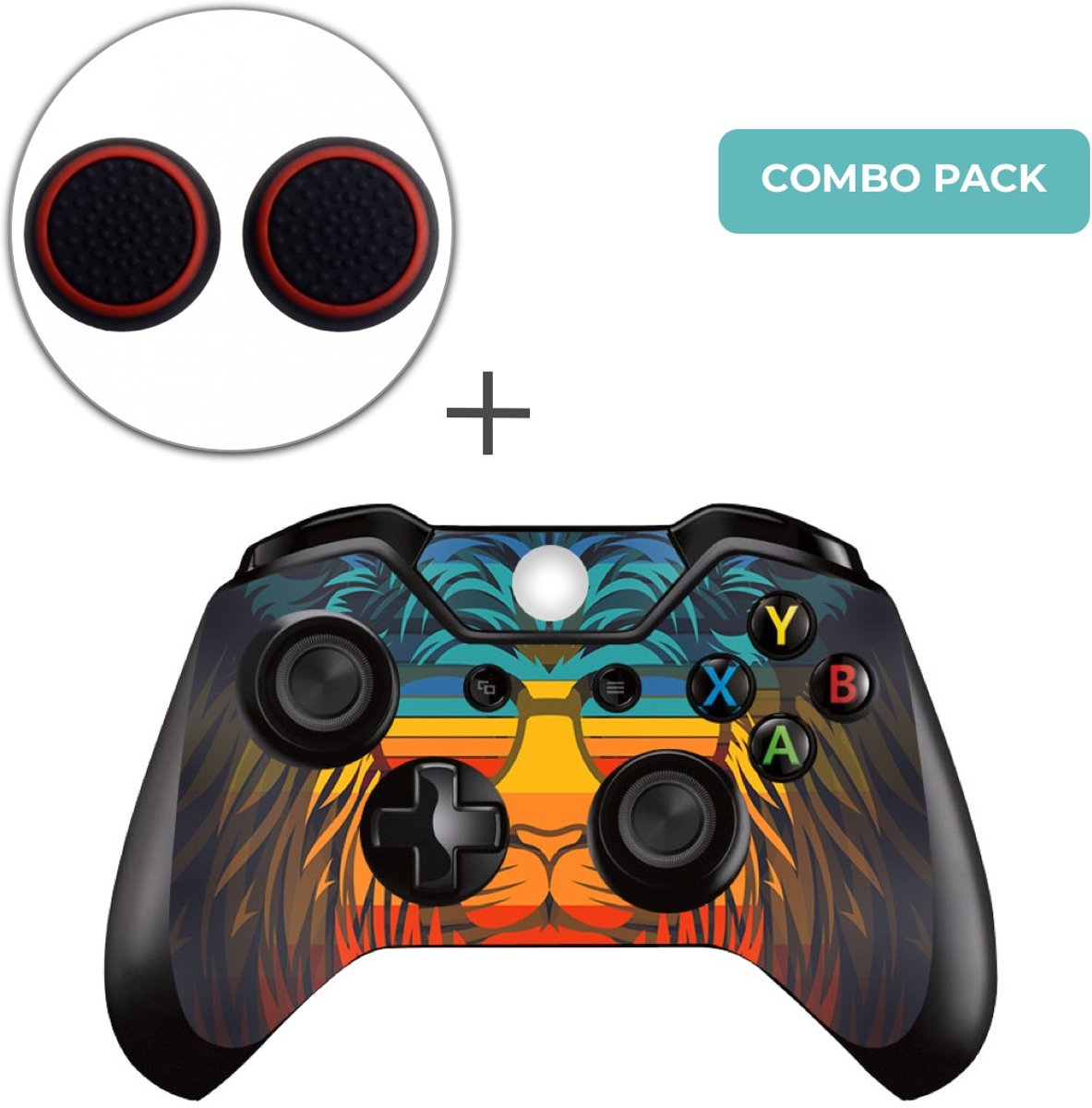 Retro Leeuw Combo Pack - Xbox One Controller Skins Stickers + Thumb Grips