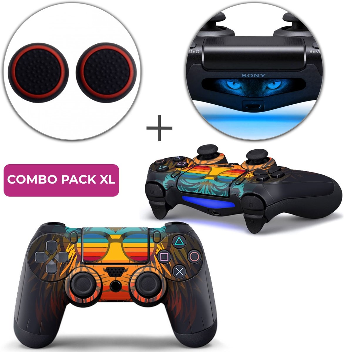 Retro Leeuw Combo Pack XL - PS4 Controller Skins PlayStation Stickers + Thumb Grips + Lightbar Skin Sticker