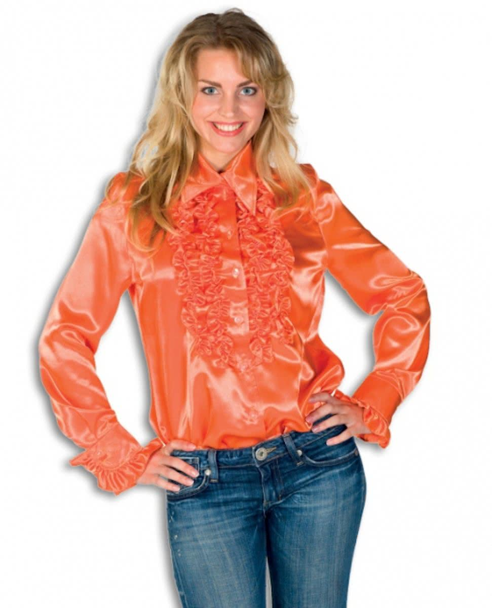 Rouches blouse oranje dames 40 (l)