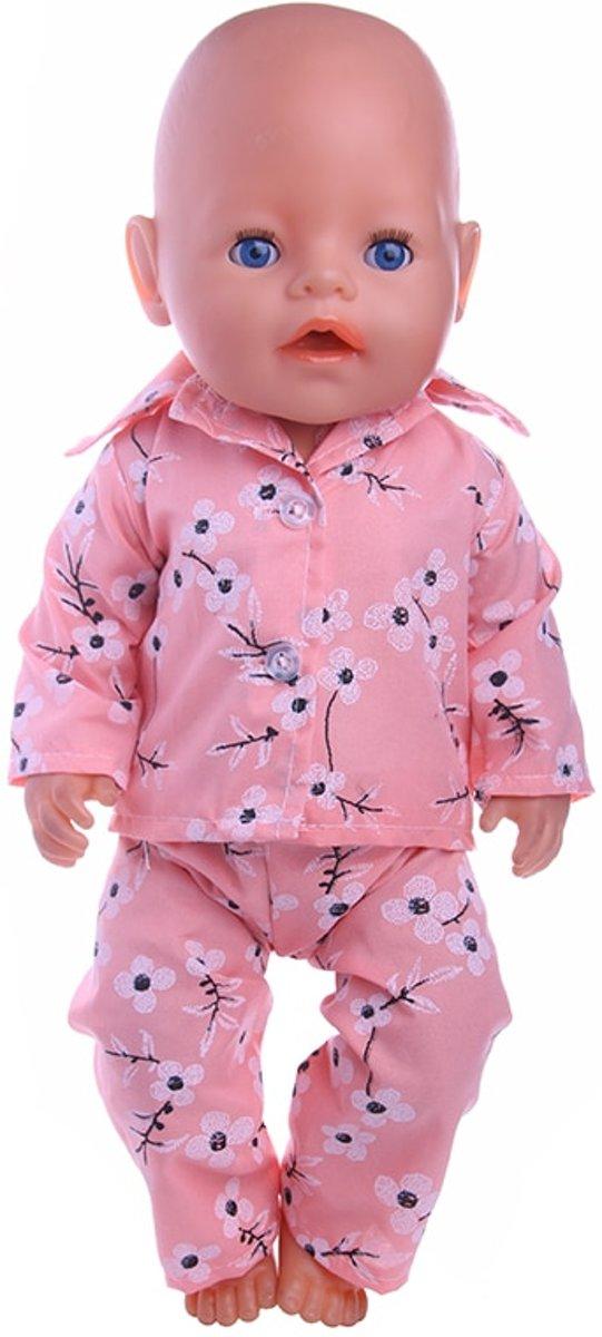 387373eed38c69 Roze pyjama met bloemen voor babypop zoals Baby born - Poppenkleding