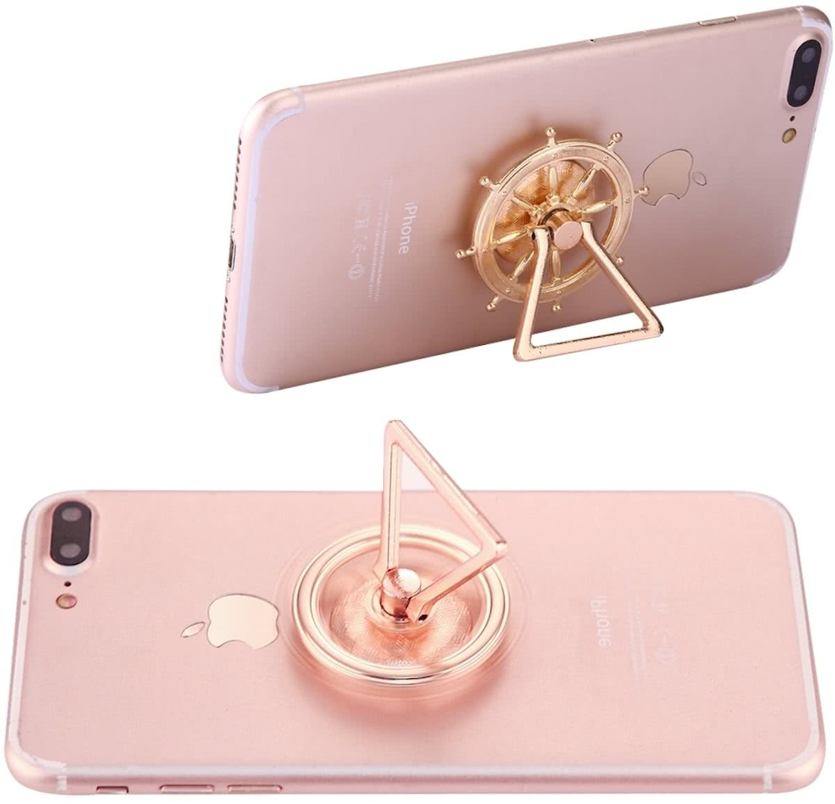 Rudder Wheel Shape Phone Triangle houder   Spinner Toy Stress rooducer Anti-Anxiety Toy, About 0.2 Minutes Rotation Time(Gold)