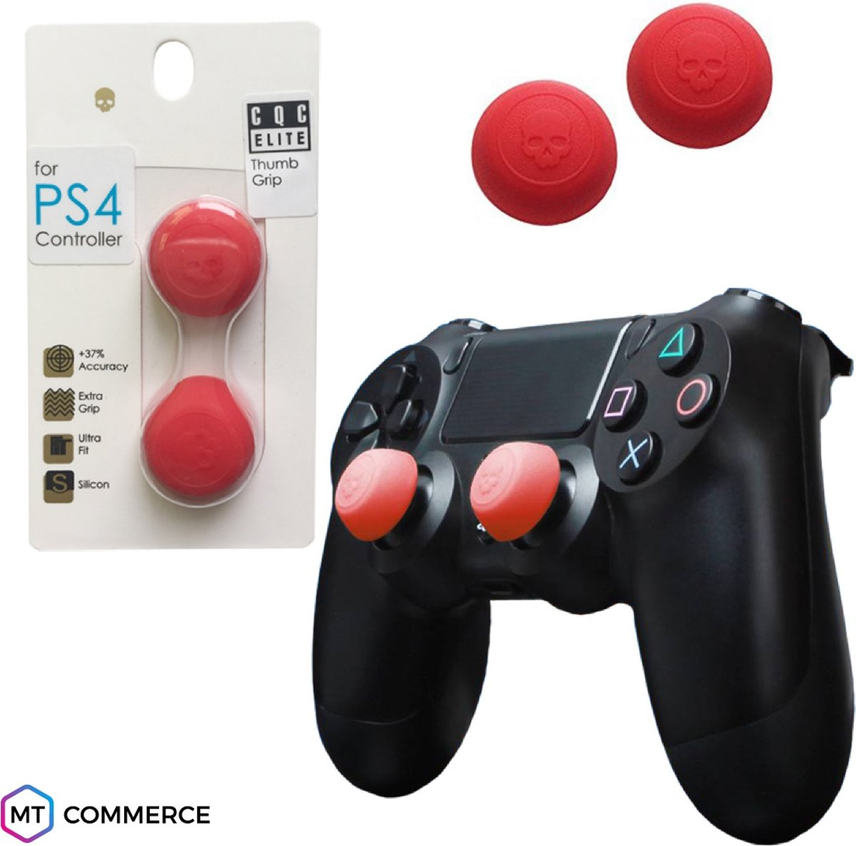 Skull & Co CQC Elite thumbsticks voor PS4 - PlayStation Controller Thumb Grips - Rood